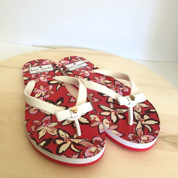 kate spade Shoes - NEW Kate Spade Nimi Floral Bow Flip Flops